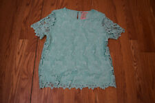 NWT Womens PHILOSOPHY Cool Breeze Green Lace Top Shirt Blouse Size S Small