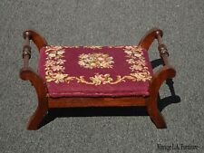 Vintage French Provincial Red Burgundy Floral Tapestry Needlepoint Footstool