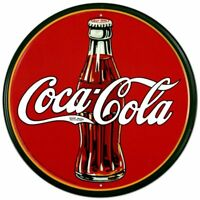 Coca-Cola Bottle Round Vintage Retro Tin Metal Sign 12 x 12in