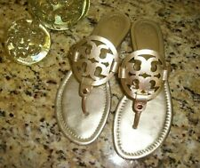 TORY BURCH 'Miller' Metallic Gold Leather Classic Thong Sandals Flip Flops 9 M