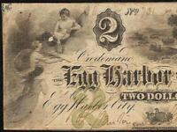 1860 $2 TWO DOLLAR BILL EGG HARBOR CITY BANK NOTE NEW JERSEY OLD PAPER MONEY