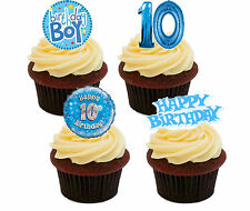 10th Birthday Boy Edible Cupcake Toppers,  Blue Stand-up Fairy Cake Decorations