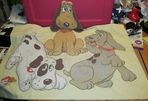 Vintage POUND PUPPIES Twin Flat & Fitted Sheets & Pillowcase ~ Sheet Set ~ 1985