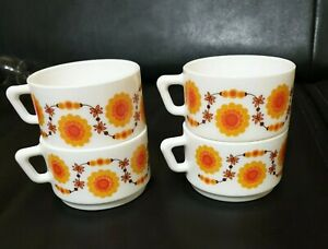 4 tasses à café Arcopal France, décor lotus vintage