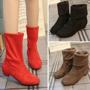 Women's Ankle Boots Low Block Heel Calf Boot Faux Suede Casual Pull on Shoes