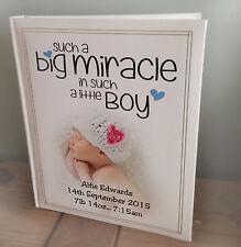 Personalised large photo album, memory book, newborn baby boy birthday gift