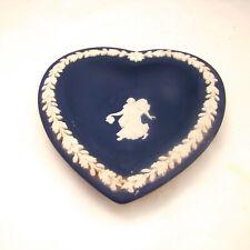 "Wedgwood Jasperware CREAM COLOR ON PORTLAND BLUE Heart Dish ""Dancing Hour"" EXC"