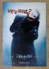 The Dark Knight Why So Serious Original Advance Style B Double Sided Poster