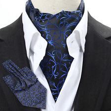 Factory Men's ASCOT CRAVAT TIE Self Tied Stain Ties Black & Blue Floral Stripes