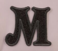 Embroidered Glitter Jet Black Retro Mod Monogram Letter M Applique Patch Iron On