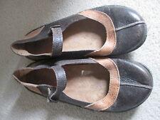 Damas Marrón Cuero Zapatos Planos Talla 6 (39)