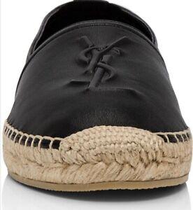 SAINT LAURENT Monogramm Leather Espadrille, 38