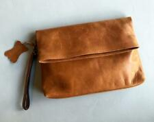 Hand Made GEULIS LEATHER FOLDED CLUTCH Womens Wristlet Wallet Hand Bag - Tan