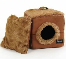 New Warm Brown Luxurious High Quality Pet Dog Cat Tent House Bed Puppy Size S