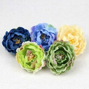 40pcs/Lot Assorted colors 2.36inch Silk Peony Heads Artificial Peony Flower DIY