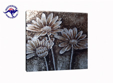 THE SILVER FLOWERS ART HANDMADE ON CANVAS-2 SIZES WOODEN BLACK FRAME