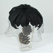 Black Dahlia Flower With Net Veil Skull Vintage Hollywood Glamour Retro Hat