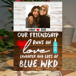 Personalised Blue WKD Our Friendship runs on Love Laughter -Blue WKD Wood Plaque