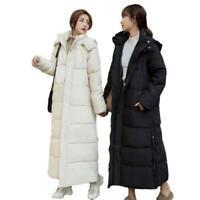 Schick Damen Wintermantel Cotton Down Kapuze Warm Bodenlang Parkas Mantel Neu L
