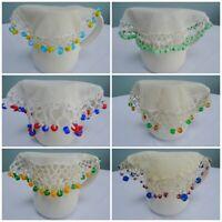 Antique Jug Cover Vintage Crochet Lace Net Milk Cream Sugar Bowl Beaded Bead 1f