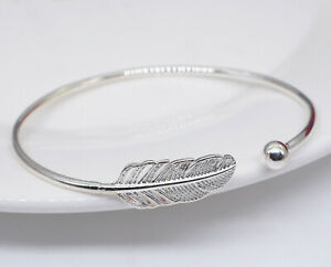 Vintage angel feather 925 Sterling Silver Bangle Bracelet Charm Women Jewellery