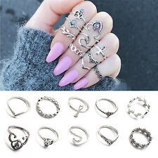 10stk Set Retro Damen Boho Strass Türkis Midi Fingerring Knuckle Stapeln Schmuck