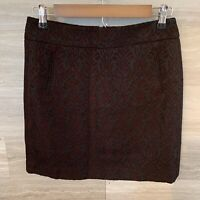 Ann Taylor LOFT Mini Skirt Black and Burgundy Quilted Size 2P Cotton Blend