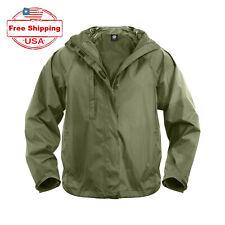 Tactical Packable Rain Gear Jacket for Men, Medium, Olive Green