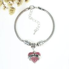 """Mom"" European Snake Chain Charm Bracelet with Heart Pendant and Love Spacer Bea"