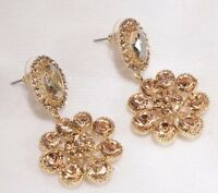 Pierced Earrings Crystal Super Bling 1.75 inch long Round Gold Wedding