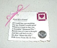 "FRIENDSHIP CARD & PIN~Valentine's Day~""Jewel Of A Friend"" Poem~Handcrafted~NEW"
