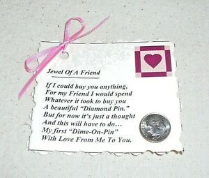 """FRIENDSHIP CARD & PIN~Valentine's Day~""""Jewel Of A Friend"""" Poem~Handcrafted~NEW"""