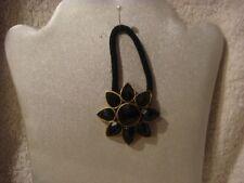 Hair band ponytail holder flower black set in antique brass
