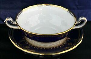 Spode Lancaster-Cobalt (White Body)Cream Soup & Saucer;  Have Ten - Mint!