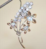 BROCHE mujer plata flores cristales strass piedras pin prendedor joya novia CC2