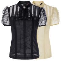 Plus Steampunk Punk Gothic Tops Women Sheer Lace Up Short Sleeve T-Shirt Ruffles