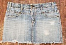 American Eagle Women's Distressed Blue Denim Jean Mini Skirt Light Wash Size 6