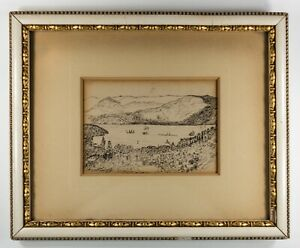 Hudson River School Artist Pen/Ink Painting in Original Frame C1890