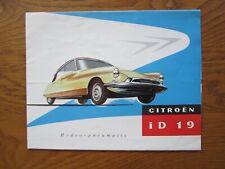 Original Motoring sales brochure, Citroen ID 19 2 Litre. 1957
