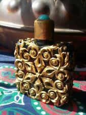 Vintage Glass Perfume Bottle Brass Filigree Turquoise Cabochon