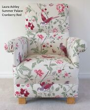 Laura Ashley Summer Palace Fabric Chair Cranberry Red Birds Armchair Floral Bird