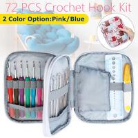 72Pcs DIY Crochet Hooks Kit Yarn Knitting Needles Sewing Tools Grip Bag Gift
