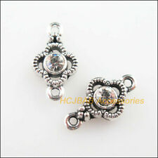 25 Clover Flower Charms Connectors Tibetan Silver Clear Crystal Pendants 8x15mm