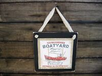 Harbourside Boatyard Nautical Hanging Wall Sign Primitive Rustic Lodge Decor