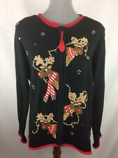Casual Corner Women M Ugly Christmas Sweater Knit Reindeer Cardigan Vintage