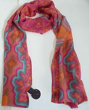 "Hale Bob Silk Scarf Foulard Pink Multi-Color Print Lightweight Approx. 77""x16"""