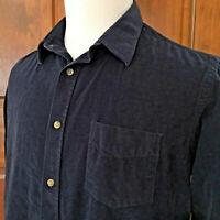 UNTUCKit Mens sz XL SLIM FIT NAVY BLUE CORDUROY L/S BUTTON FRONT COTTON SHIRT
