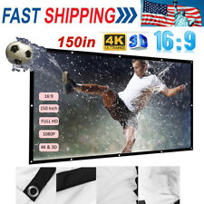 150''Portable Foldable Projector Screen 16:9 HD Home Theater Outdoor 3D Movies