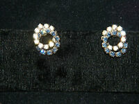 Lovely Sapphire Blue Rhinestones Interlocking Circles Silver Clip Earrings 4f 13