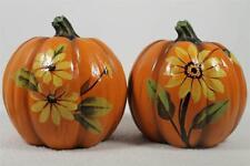 Set Of 2 Pumpkins - Yellow Flowers - Halloween Fall Set New!